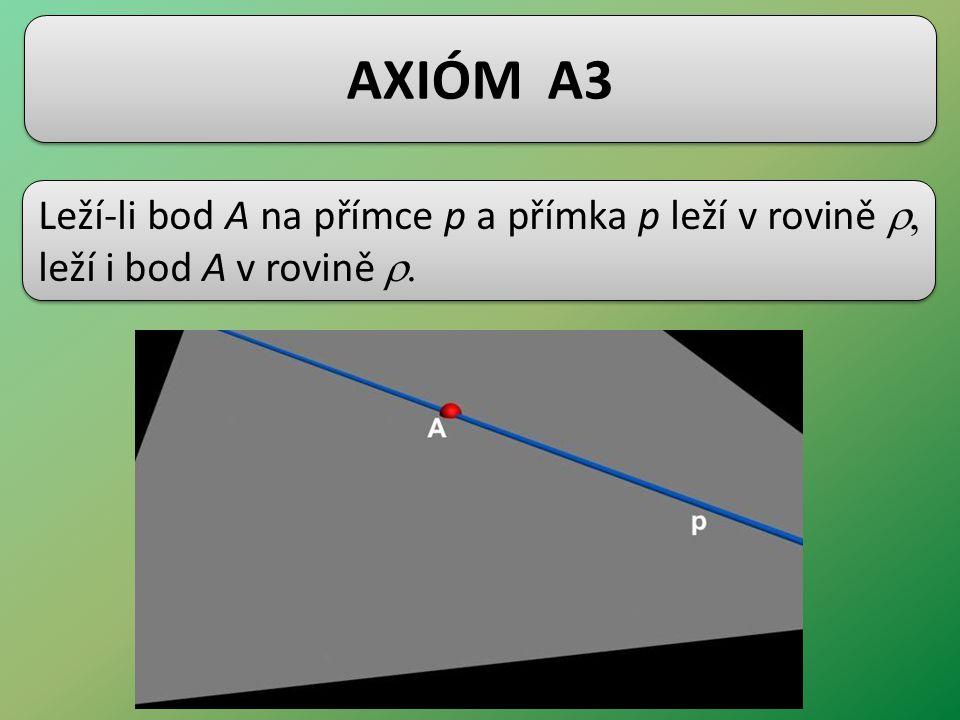 AXIÓM A3 Leží-li bod A na přímce p a přímka p leží v rovině  leží i bod A v rovině 
