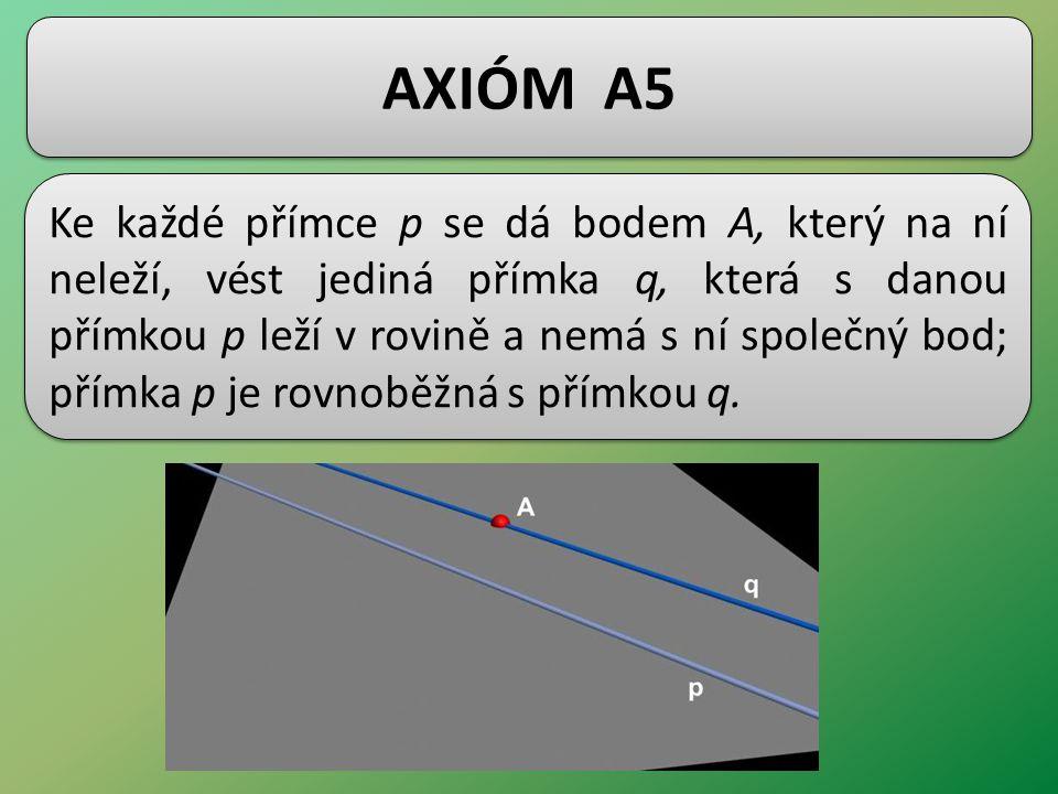 AXIÓM A5 Ke každé přímce p se dá bodem A, který na ní neleží, vést jediná přímka q, která s danou přímkou p leží v rovině a nemá s ní společný bod; přímka p je rovnoběžná s přímkou q.