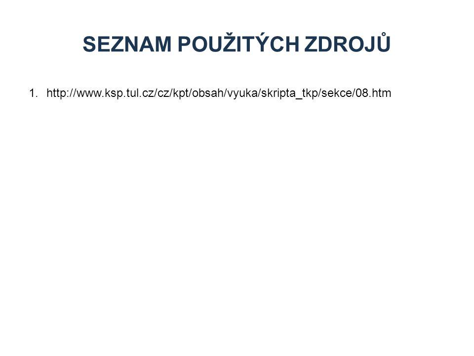 1.http://www.ksp.tul.cz/cz/kpt/obsah/vyuka/skripta_tkp/sekce/08.htm SEZNAM POUŽITÝCH ZDROJŮ