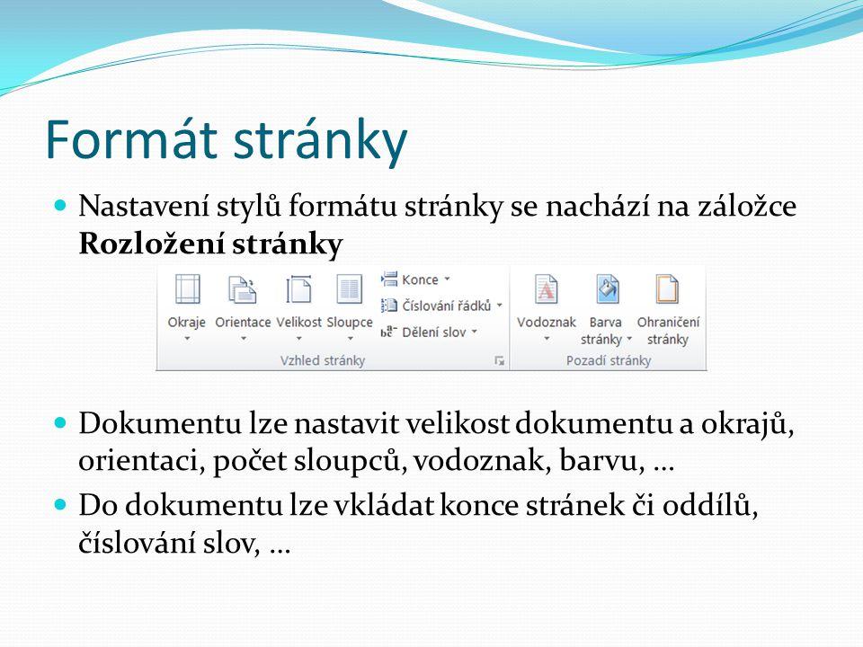 Formát stránky Nastavení stylů formátu stránky se nachází na záložce Rozložení stránky Dokumentu lze nastavit velikost dokumentu a okrajů, orientaci,