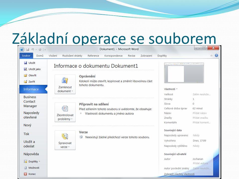 Uložit otevřený dokument