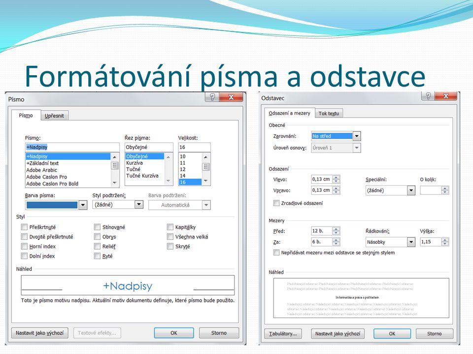 Styly Místo používání přímého formátování můžete dokument formátovat pomocí stylů, což je způsob, jak snadno a rychle použít sadu možností formátování jednotně v celém dokumentu Styl je sada vlastností formátování, například název, velikost a barva písma nebo zarovnání odstavce či mezery mezi odstavci Některé styly dokonce zahrnují ohraničení a stínování http://office.microsoft.com/cs-cz/word-help/zaklady-stylu-v-aplikaci-word-HA102647012.aspx