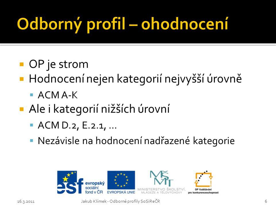  OP je strom  Hodnocení nejen kategorií nejvyšší úrovně  ACM A-K  Ale i kategorií nižších úrovní  ACM D.2, E.2.1, …  Nezávisle na hodnocení nadřazené kategorie 16.3.2011Jakub Klímek - Odborné profily SoSiReČR6