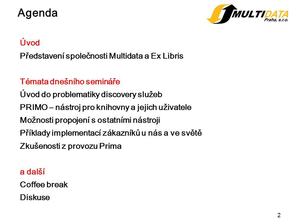 3 Představení společnosti Společnost Multidata Praha byla založená v roce 1997 Distributor produktů Ex Libris pro ČR a SR Implementace projektů – Aleph, Primo, SFX, Metalib, PCI, EZ Proxi Nově – produkty Rosetta, Alma, Cloud computing (SaaS) Náš tým provádí: Implementace, konsultace, školení, migrace, nastavení.
