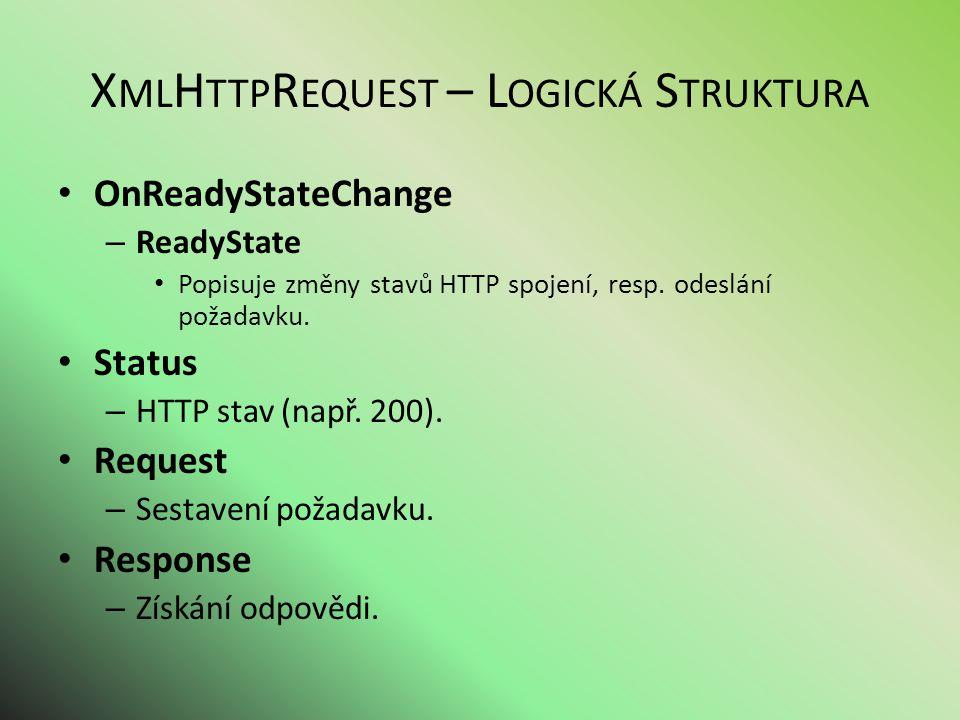 X ML H TTP R EQUEST – L OGICKÁ S TRUKTURA OnReadyStateChange – ReadyState Popisuje změny stavů HTTP spojení, resp.
