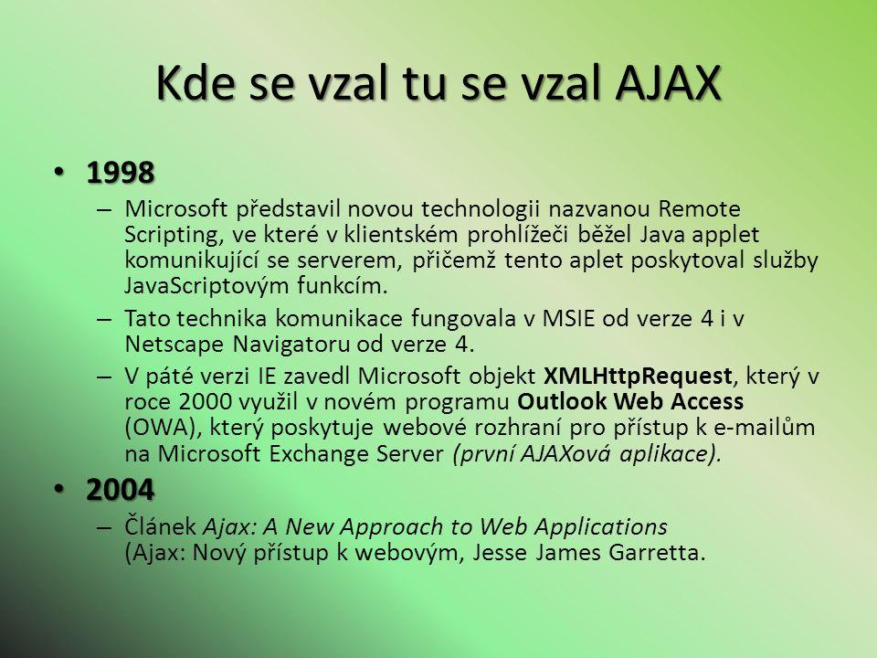 Kde se vzal tu se vzal AJAX 1998 1998 – Microsoft představil novou technologii nazvanou Remote Scripting, ve které v klientském prohlížeči běžel Java applet komunikující se serverem, přičemž tento aplet poskytoval služby JavaScriptovým funkcím.