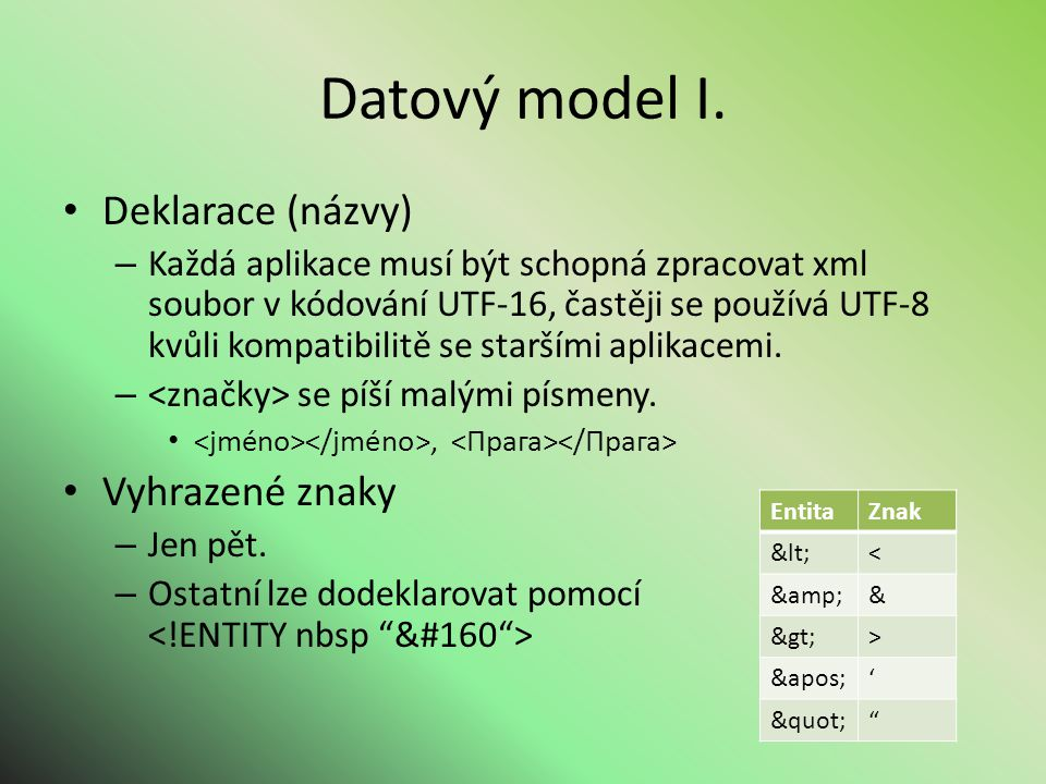 Datový model I.