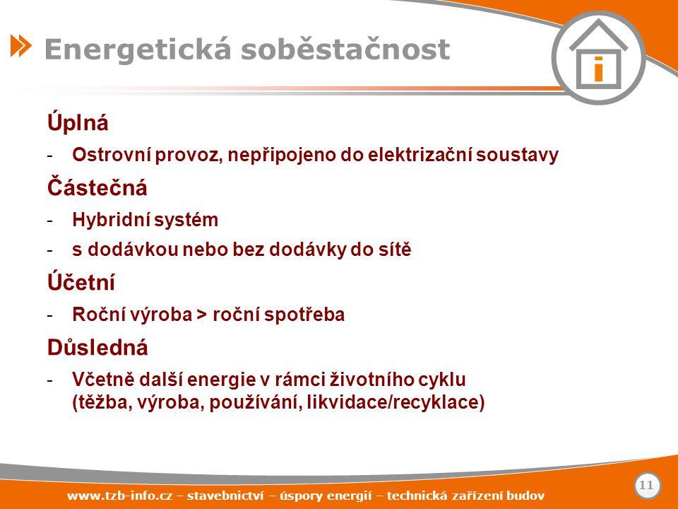 www.tzb-info.cz – stavebnictví – úspory energií – technická zařízení budov 11 Energetická soběstačnost Úplná -Ostrovní provoz, nepřipojeno do elektriz