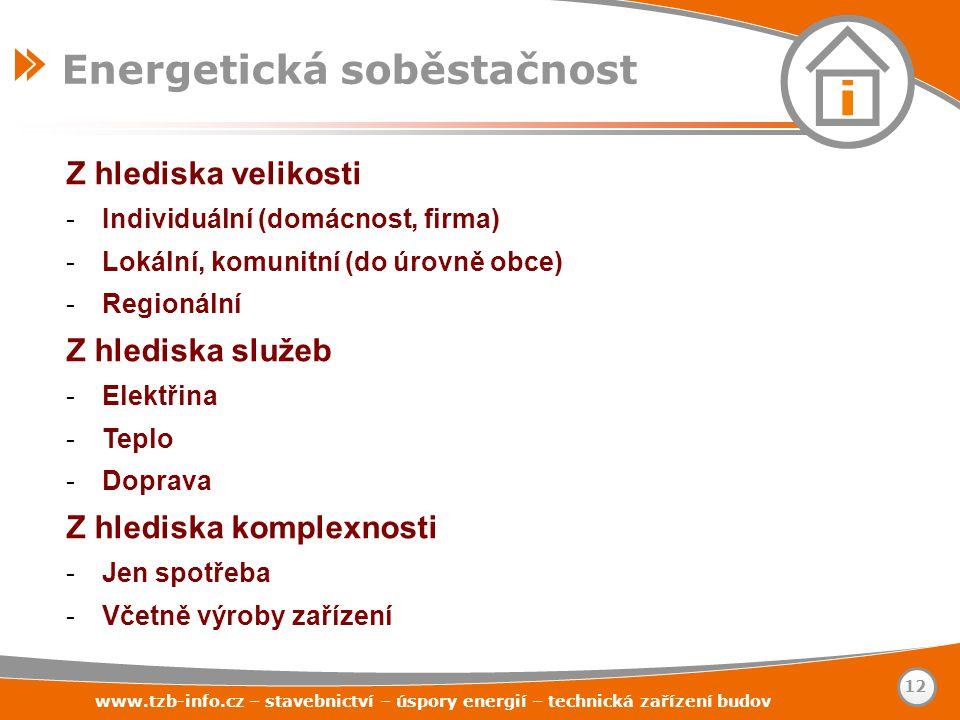 www.tzb-info.cz – stavebnictví – úspory energií – technická zařízení budov 12 Energetická soběstačnost Z hlediska velikosti -Individuální (domácnost,