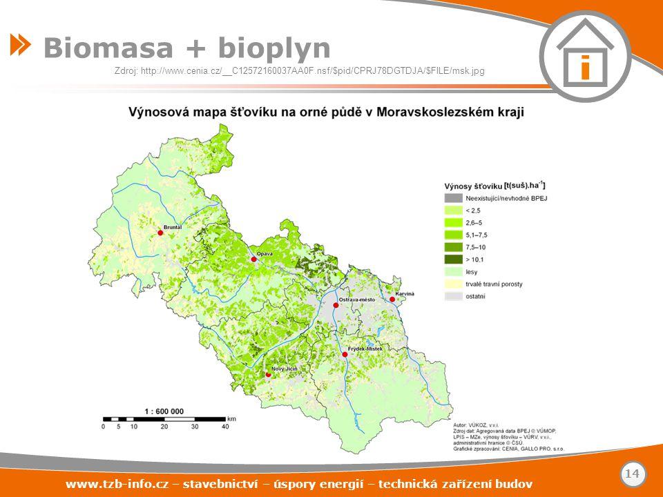 Biomasa + bioplyn www.tzb-info.cz – stavebnictví – úspory energií – technická zařízení budov 14 Zdroj: http://www.cenia.cz/__C12572160037AA0F.nsf/$pid