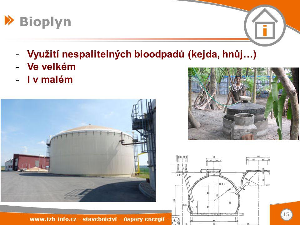 -Využití nespalitelných bioodpadů (kejda, hnůj…) -Ve velkém -I v malém www.tzb-info.cz – stavebnictví – úspory energií – technická zařízení budov 15 B