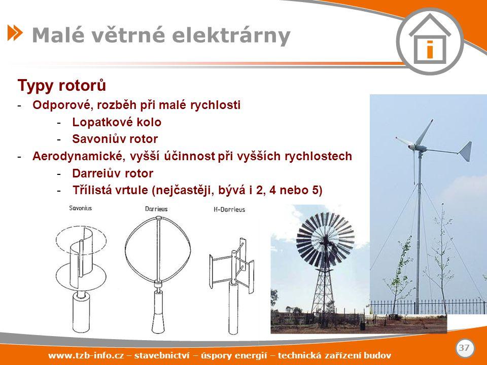 Typy rotorů -Odporové, rozběh při malé rychlosti -Lopatkové kolo -Savoniův rotor -Aerodynamické, vyšší účinnost při vyšších rychlostech -Darreiův roto