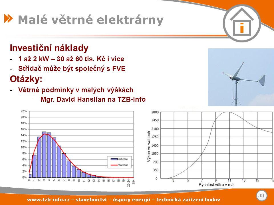 Investiční náklady -1 až 2 kW – 30 až 60 tis. Kč i více -Střídač může být společný s FVE Otázky: -Větrné podmínky v malých výškách -Mgr. David Hanslia