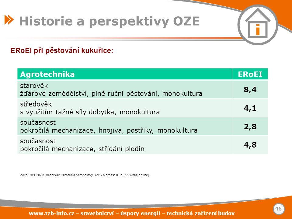 ERoEI při pěstování kukuřice: Historie a perspektivy OZE www.tzb-info.cz – stavebnictví – úspory energií – technická zařízení budov 46 AgrotechnikaERo