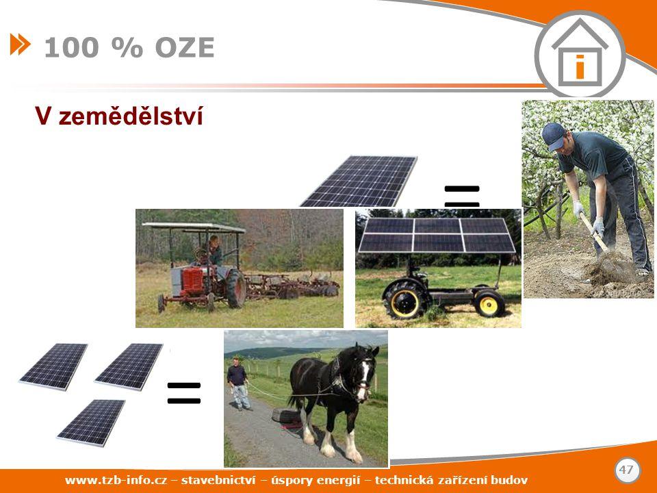 www.tzb-info.cz – stavebnictví – úspory energií – technická zařízení budov 47 100 % OZE V zemědělství
