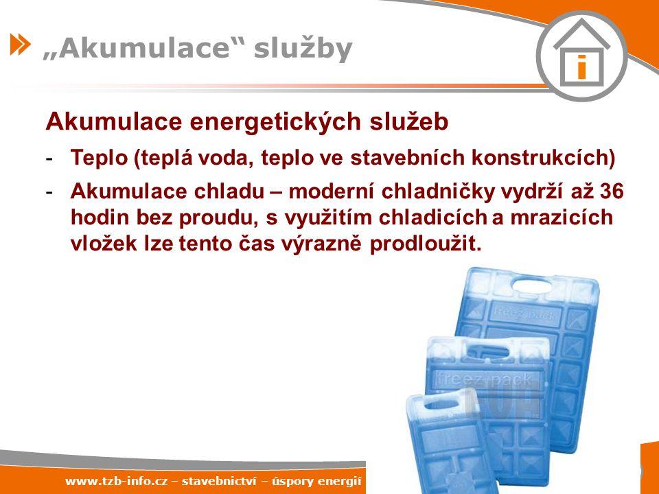 """www.tzb-info.cz – stavebnictví – úspory energií – technická zařízení budov 58 """"Akumulace"""" služby Akumulace energetických služeb -Teplo (teplá voda, te"""