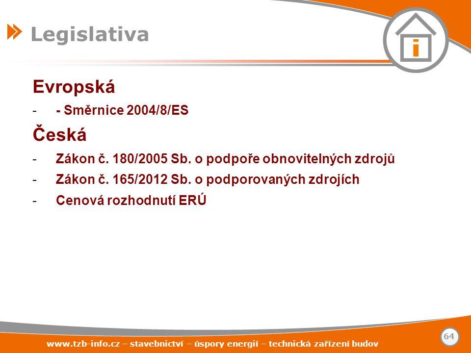 Evropská -- Směrnice 2004/8/ES Česká -Zákon č. 180/2005 Sb. o podpoře obnovitelných zdrojů -Zákon č. 165/2012 Sb. o podporovaných zdrojích -Cenová roz