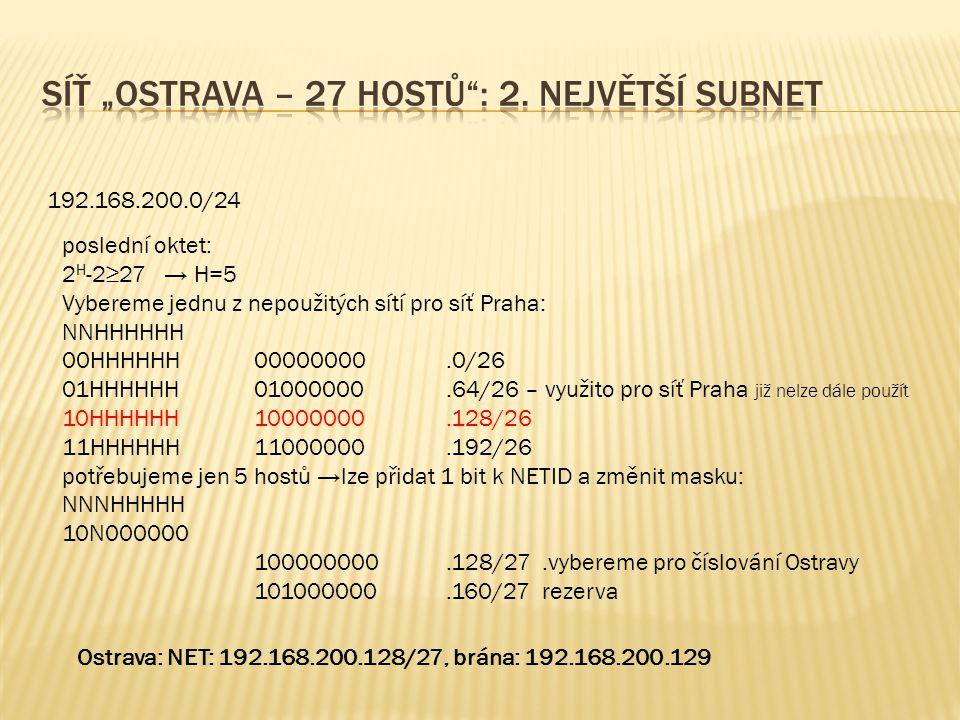 192.168.200.0/24 poslední oktet: 2 H -2≥27 → H=5 Vybereme jednu z nepoužitých sítí pro síť Praha: NNHHHHHH 00HHHHHH00000000.0/26 01HHHHHH01000000.64/26 – využito pro síť Praha již nelze dále použít 10HHHHHH10000000.128/26 11HHHHHH 11000000.192/26 potřebujeme jen 5 hostů →lze přidat 1 bit k NETID a změnit masku: NNNHHHHH 10N000000 100000000.128/27.vybereme pro číslování Ostravy 101000000.160/27 rezerva Ostrava: NET: 192.168.200.128/27, brána: 192.168.200.129