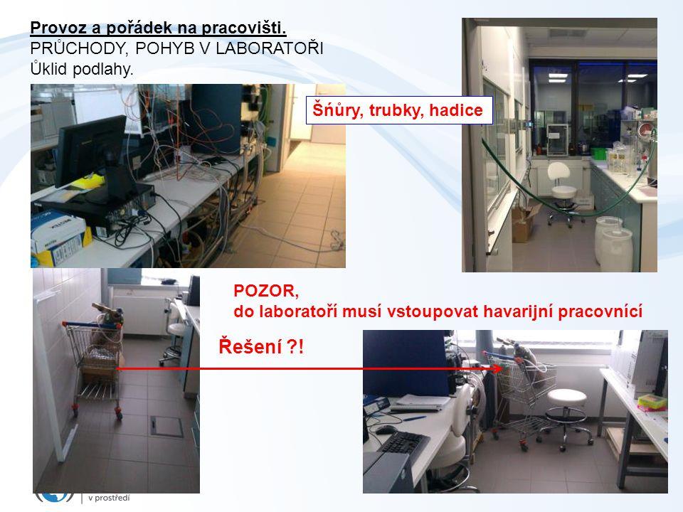 31 Provoz a pořádek na pracovišti. PRŮCHODY, POHYB V LABORATOŘI Ůklid podlahy. Řešení ?! POZOR, do laboratoří musí vstoupovat havarijní pracovnící Šńů