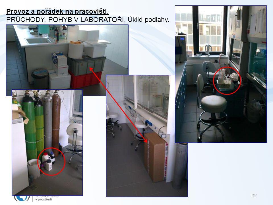 32 Provoz a pořádek na pracovišti. PRŮCHODY, POHYB V LABORATOŘI, Úklid podlahy.