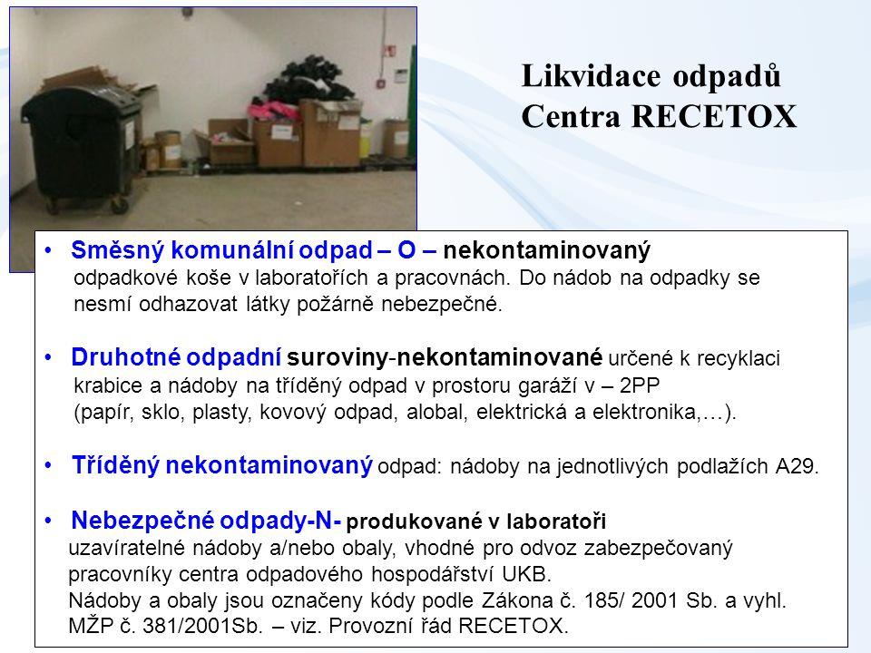 36 Likvidace odpadů Centra RECETOX Směsný komunální odpad – O – nekontaminovaný odpadkové koše v laboratořích a pracovnách. Do nádob na odpadky se nes