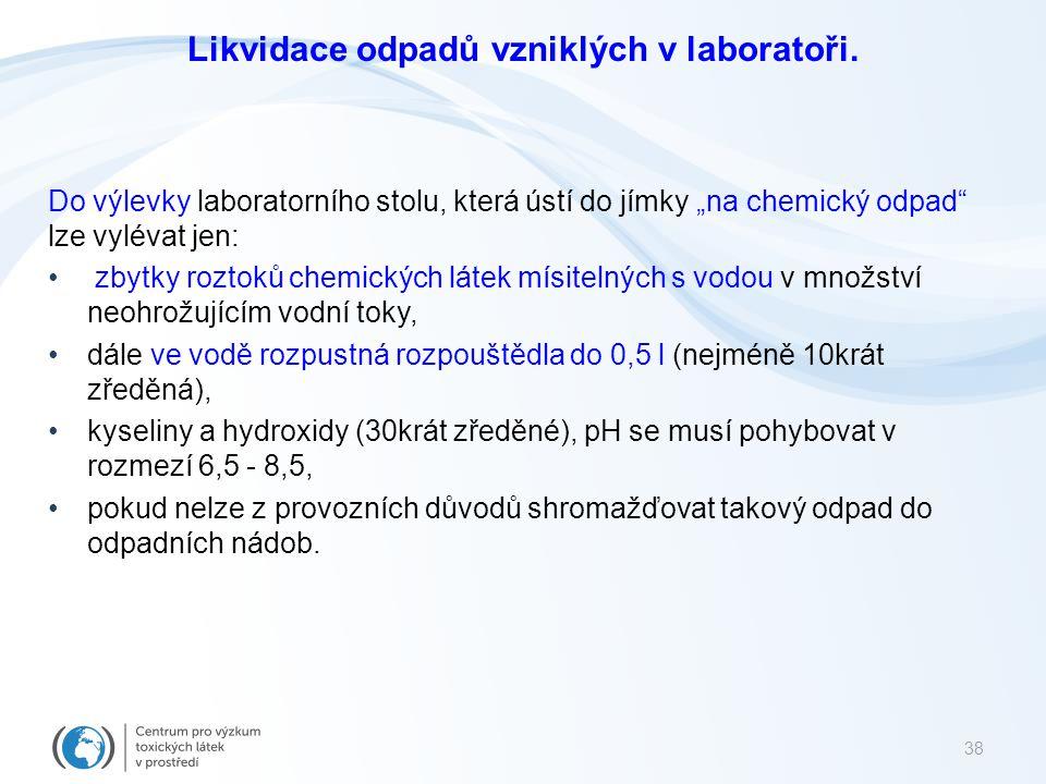 """Likvidace odpadů vzniklých v laboratoři. Do výlevky laboratorního stolu, která ústí do jímky """"na chemický odpad"""" lze vylévat jen: zbytky roztoků chemi"""