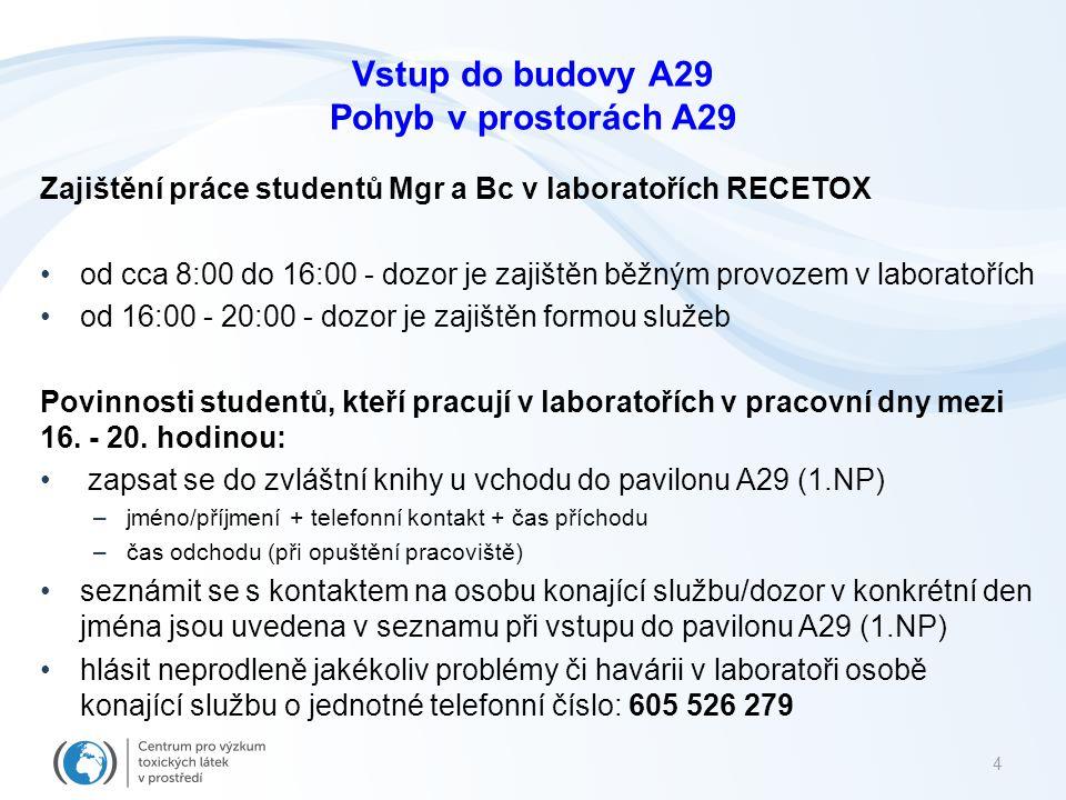 4 Zajištění práce studentů Mgr a Bc v laboratořích RECETOX od cca 8:00 do 16:00 - dozor je zajištěn běžným provozem v laboratořích od 16:00 - 20:00 -