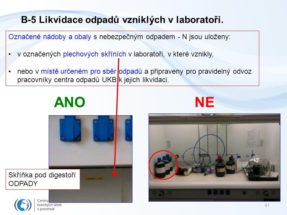 41 ANONE Označené nádoby a obaly s nebezpečným odpadem - N jsou uloženy: v označených plechových skříních v laboratoři, v které vznikly, nebo v místě