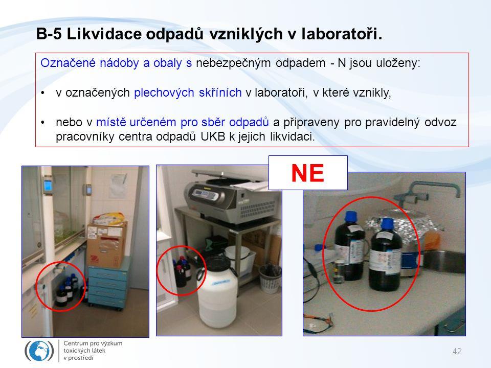 42 NE B-5 Likvidace odpadů vzniklých v laboratoři. Označené nádoby a obaly s nebezpečným odpadem - N jsou uloženy: v označených plechových skříních v