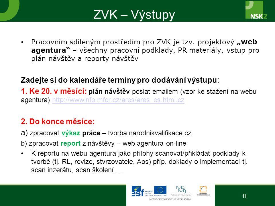 """ZVK – Výstupy Pracovním sdíleným prostředím pro ZVK je tzv. projektový """"web agentura"""" – všechny pracovní podklady, PR materiály, vstup pro plán návště"""