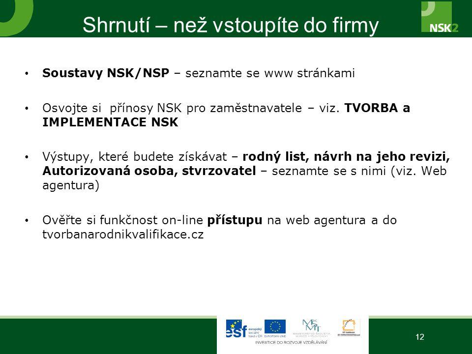 Shrnutí – než vstoupíte do firmy Soustavy NSK/NSP – seznamte se www stránkami Osvojte si přínosy NSK pro zaměstnavatele – viz. TVORBA a IMPLEMENTACE N