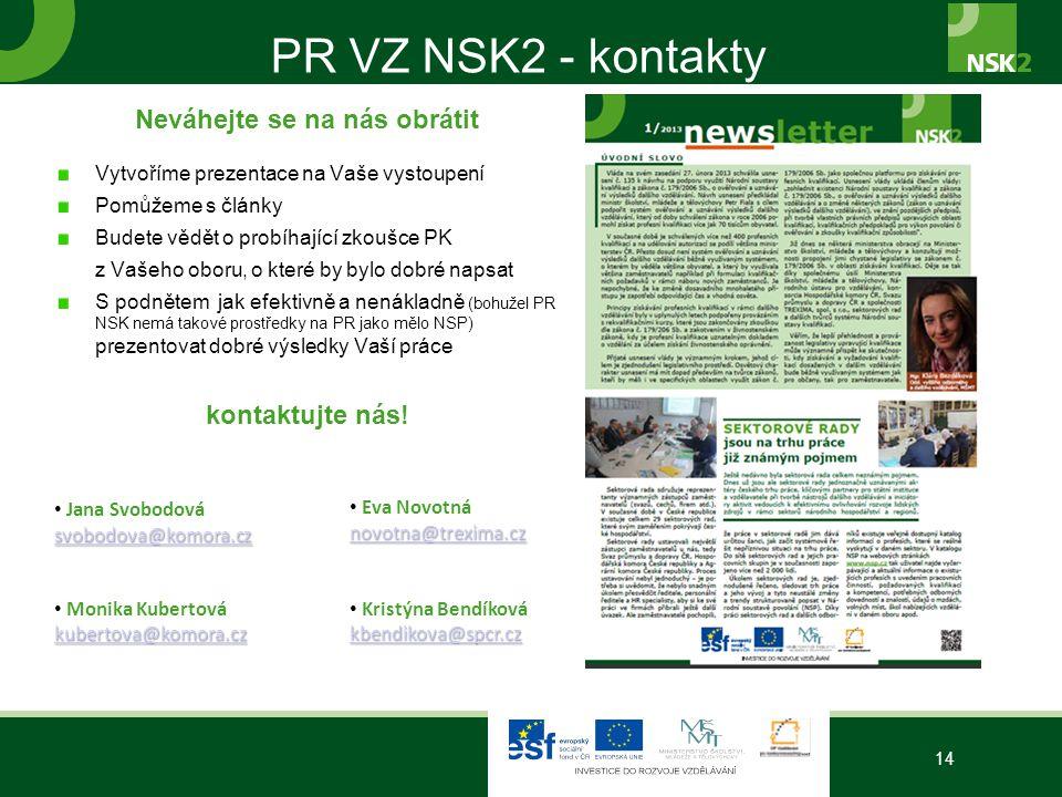 PR VZ NSK2 - kontakty Neváhejte se na nás obrátit Vytvoříme prezentace na Vaše vystoupení Pomůžeme s články Budete vědět o probíhající zkoušce PK z Va