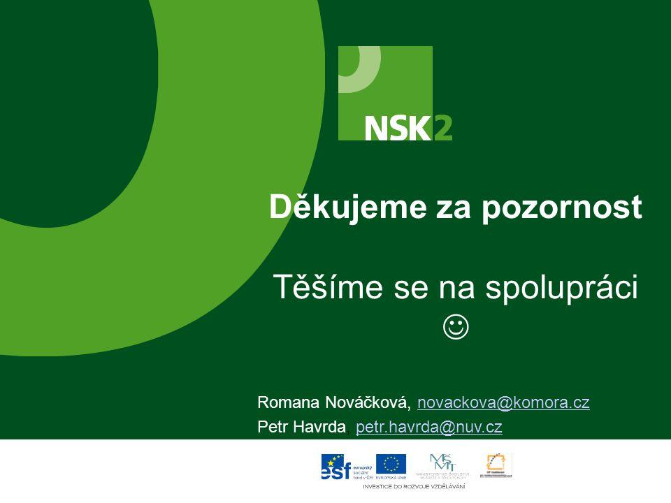 Děkujeme za pozornost Těšíme se na spolupráci Romana Nováčková, novackova@komora.cznovackova@komora.cz Petr Havrda, petr.havrda@nuv.czpetr.havrda@nuv.