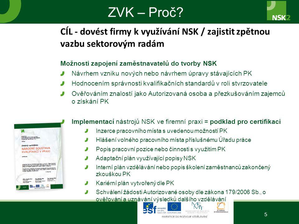ZVK – Proč? 5 CÍL - dovést firmy k využívání NSK / zajistit zpětnou vazbu sektorovým radám Možnosti zapojení zaměstnavatelů do tvorby NSK Návrhem vzni