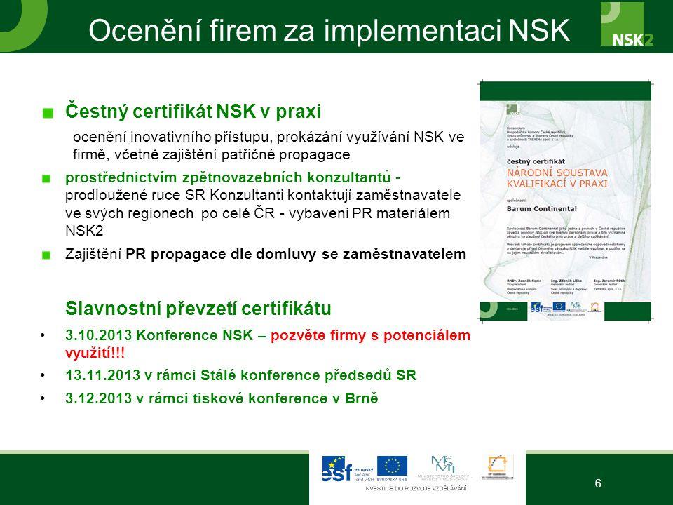Ocenění firem za implementaci NSK Čestný certifikát NSK v praxi ocenění inovativního přístupu, prokázání využívání NSK ve firmě, včetně zajištění patř