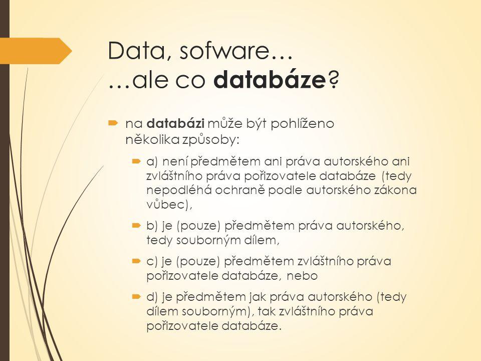 Data, sofware… …ale co databáze .