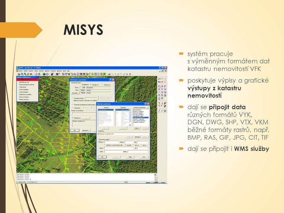 MISYS  systém pracuje s výměnným formátem dat katastru nemovitostí VFK  poskytuje výpisy a grafické výstupy z katastru nemovitostí  dají se připojit data různých formátů VYK, DGN, DWG, SHP, VTX, VKM běžné formáty rastrů, např.