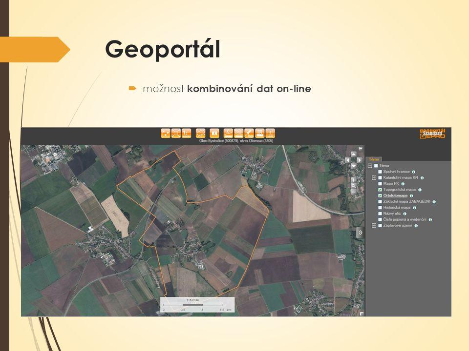 Geoportál  možnost kombinování dat on-line