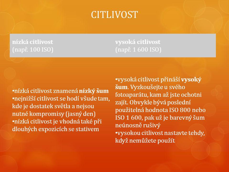 CITLIVOST nízká citlivost (např. 100 ISO) vysoká citlivost (např.