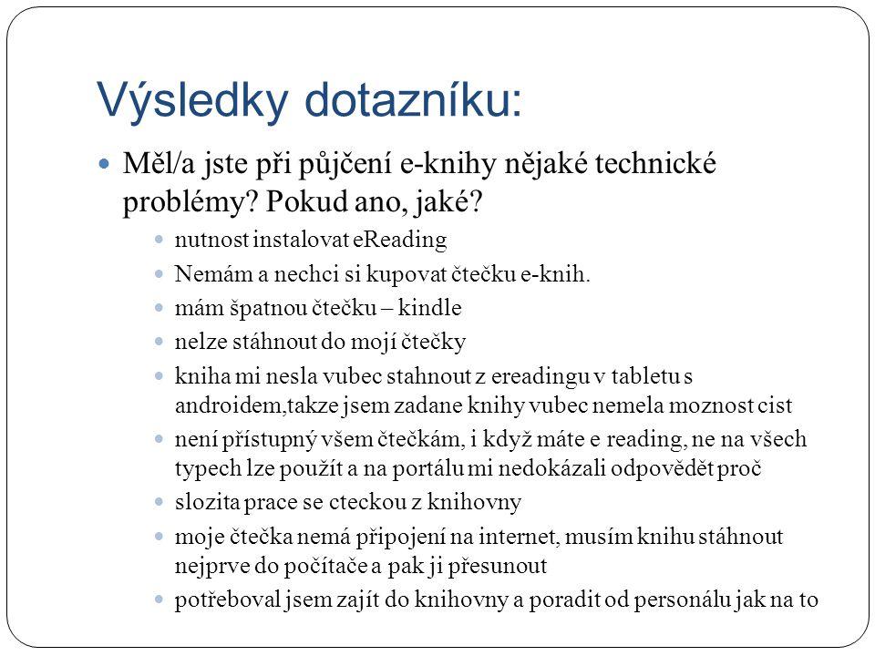 Výsledky dotazníku: Měl/a jste při půjčení e-knihy nějaké technické problémy.