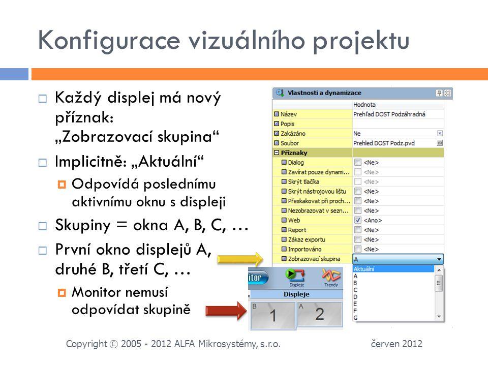 """Konfigurace vizuálního projektu  Každý displej má nový příznak: """"Zobrazovací skupina  Implicitně: """"Aktuální  Odpovídá poslednímu aktivnímu oknu s displeji  Skupiny = okna A, B, C, …  První okno displejů A, druhé B, třetí C, …  Monitor nemusí odpovídat skupině červen 2012 Copyright © 2005 - 2012 ALFA Mikrosystémy, s.r.o."""