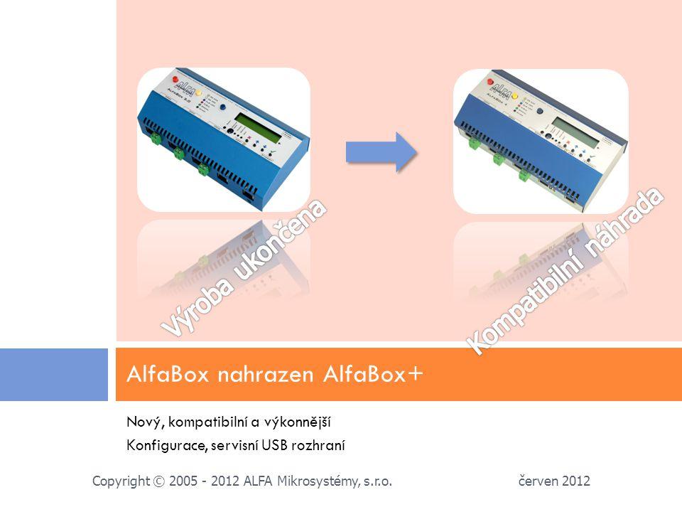 Nový, kompatibilní a výkonnější Konfigurace, servisní USB rozhraní AlfaBox nahrazen AlfaBox+ červen 2012 Copyright © 2005 - 2012 ALFA Mikrosystémy, s.r.o.