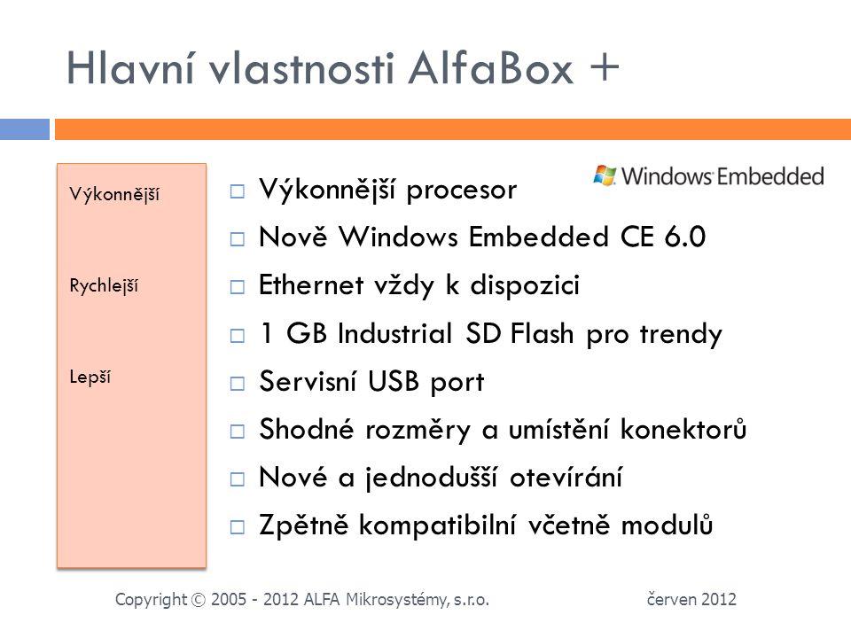 Hlavní vlastnosti AlfaBox + Výkonnější Rychlejší Lepší Výkonnější Rychlejší Lepší  Výkonnější procesor  Nově Windows Embedded CE 6.0  Ethernet vždy k dispozici  1 GB Industrial SD Flash pro trendy  Servisní USB port  Shodné rozměry a umístění konektorů  Nové a jednodušší otevírání  Zpětně kompatibilní včetně modulů červen 2012 Copyright © 2005 - 2012 ALFA Mikrosystémy, s.r.o.