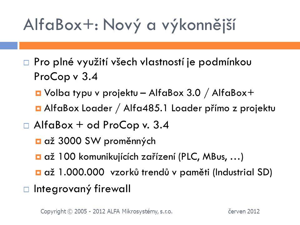 AlfaBox+: Nový a výkonnější červen 2012 Copyright © 2005 - 2012 ALFA Mikrosystémy, s.r.o.