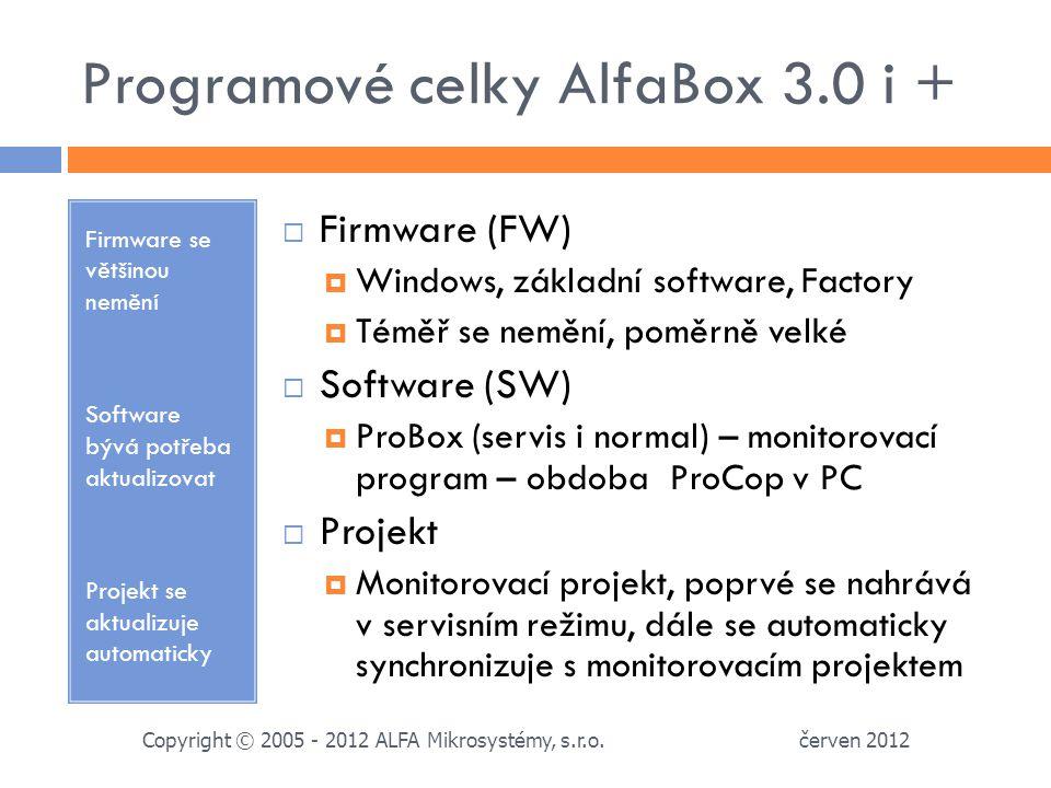 Programové celky AlfaBox 3.0 i + Firmware se většinou nemění Software bývá potřeba aktualizovat Projekt se aktualizuje automaticky  Firmware (FW)  Windows, základní software, Factory  Téměř se nemění, poměrně velké  Software (SW)  ProBox (servis i normal) – monitorovací program – obdoba ProCop v PC  Projekt  Monitorovací projekt, poprvé se nahrává v servisním režimu, dále se automaticky synchronizuje s monitorovacím projektem červen 2012 Copyright © 2005 - 2012 ALFA Mikrosystémy, s.r.o.