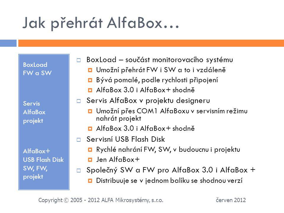 Jak přehrát AlfaBox… BoxLoad FW a SW Servis AlfaBox projekt AlfaBox+ USB Flash Disk SW, FW, projekt  BoxLoad – součást monitorovacího systému  Umožní přehrát FW i SW a to i vzdáleně  Bývá pomalé, podle rychlosti připojení  AlfaBox 3.0 i AlfaBox+ shodně  Servis AlfaBox v projektu designeru  Umožní přes COM1 AlfaBoxu v servisním režimu nahrát projekt  AlfaBox 3.0 i AlfaBox+ shodně  Servisní USB Flash Disk  Rychlé nahrání FW, SW, v budoucnu i projektu  Jen AlfaBox+  Společný SW a FW pro AlfaBox 3.0 i AlfaBox +  Distribuuje se v jednom balíku se shodnou verzí červen 2012 Copyright © 2005 - 2012 ALFA Mikrosystémy, s.r.o.