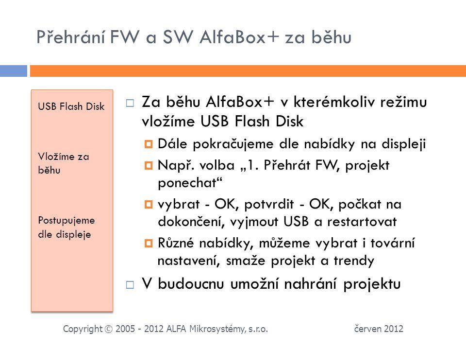 Přehrání FW a SW AlfaBox+ za běhu USB Flash Disk Vložíme za běhu Postupujeme dle displeje USB Flash Disk Vložíme za běhu Postupujeme dle displeje  Za běhu AlfaBox+ v kterémkoliv režimu vložíme USB Flash Disk  Dále pokračujeme dle nabídky na displeji  Např.
