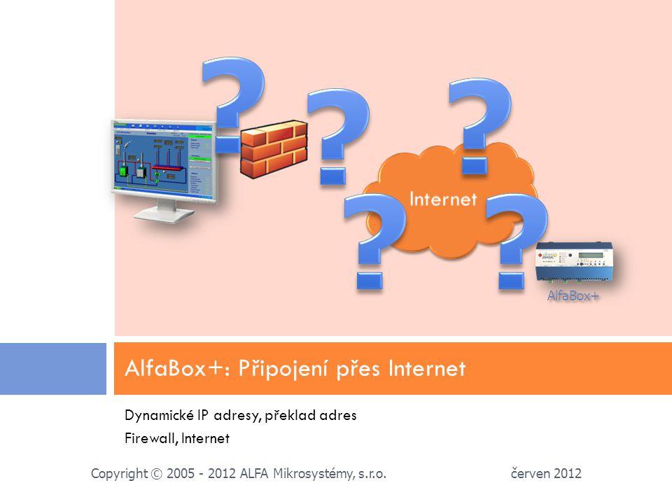 Dynamické IP adresy, překlad adres Firewall, Internet AlfaBox+: Připojení přes Internet červen 2012 Copyright © 2005 - 2012 ALFA Mikrosystémy, s.r.o.