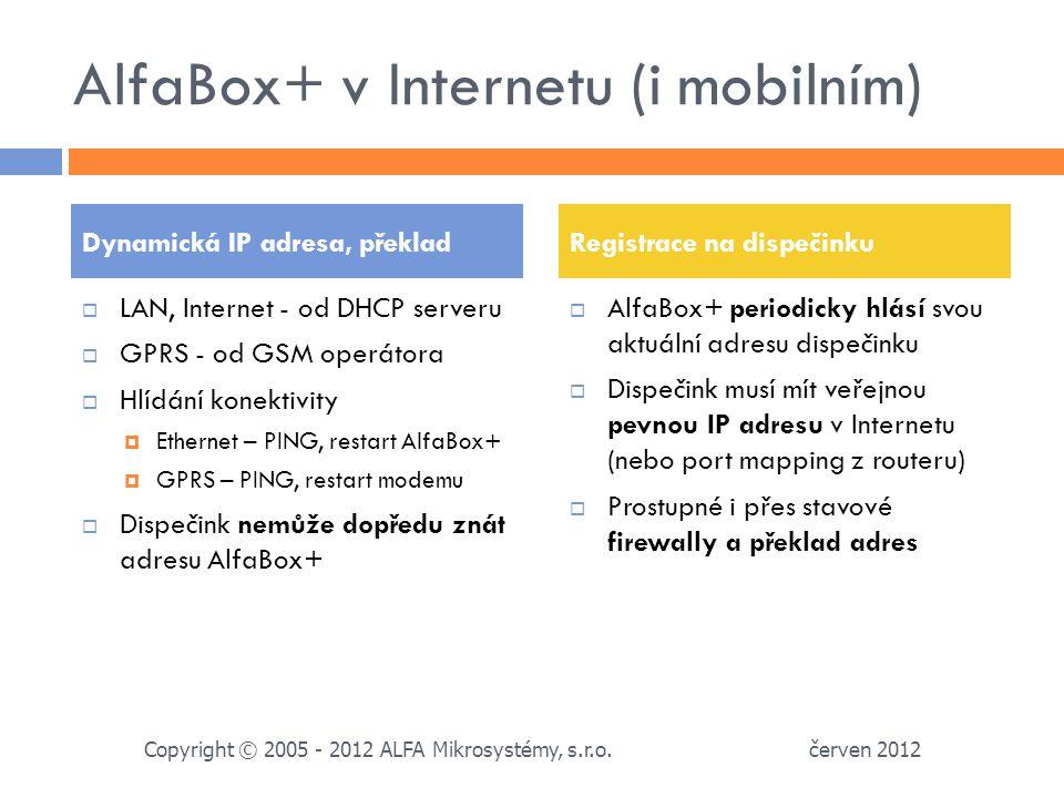 AlfaBox+ v Internetu (i mobilním)  LAN, Internet - od DHCP serveru  GPRS - od GSM operátora  Hlídání konektivity  Ethernet – PING, restart AlfaBox+  GPRS – PING, restart modemu  Dispečink nemůže dopředu znát adresu AlfaBox+  AlfaBox+ periodicky hlásí svou aktuální adresu dispečinku  Dispečink musí mít veřejnou pevnou IP adresu v Internetu (nebo port mapping z routeru)  Prostupné i přes stavové firewally a překlad adres Dynamická IP adresa, překladRegistrace na dispečinku červen 2012 Copyright © 2005 - 2012 ALFA Mikrosystémy, s.r.o.