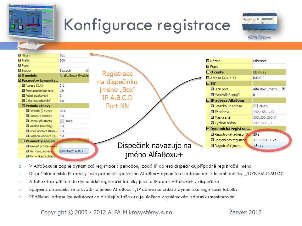 Konfigurace registrace červen 2012 Copyright © 2005 - 2012 ALFA Mikrosystémy, s.r.o.
